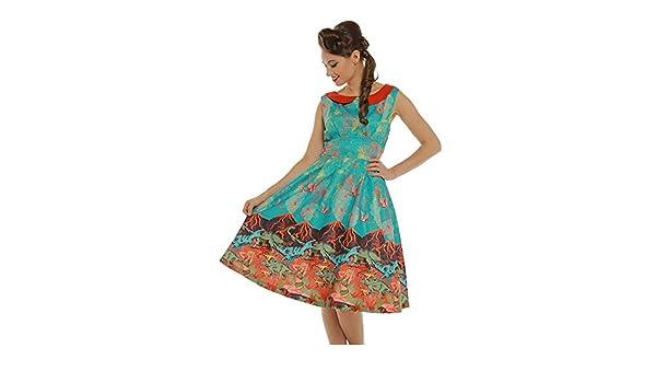 d30cec3e5629f Lindy Bop 'Sorrell' Volcano and Dinosaur Print Swing Dress: Amazon.co.uk:  Clothing