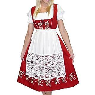Dirndl Trachten Haus Women's 3-Piece Long German Dress 40 Red
