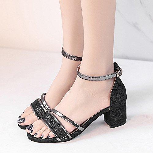 RUGAI-UE Donne Toe sandali Scarpe estive Scarpe della fibbia Black