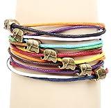 Stayoung Jewellery Capas Múltiples Cuerda Ajustable Elefante Tailandés Tailandia Triple Encanto Hilos Pulsera Envuelta de Suerte