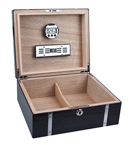 GERMANUS Cigar Humidor with Digital Hygrometer and Humidifier