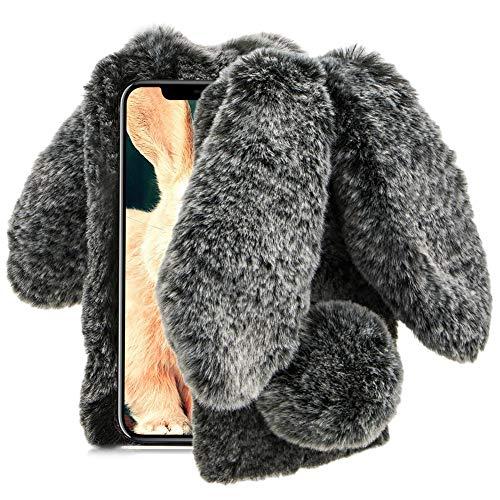 Aearl Für iPhone X/XS Hülle Plüsch Wolle Flaumig Villi Pelz Hasenohren Case, TPU Silikon Weich Bling Kristall Diamant Cover mit Displayschutzfolie für iPhone XS/iPhone X 5.8 Zoll,Schwarz