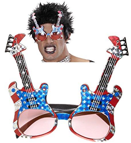 Sonnenbrille * AMERICAN ROCKSTAR * als Verkleidung für Halloween, Karneval oder USA Mottoparty // Gitarre Geburtstag Kindergeburtstag Stars Stripes Fan Brille rot weiss blau Sterne Amerika US