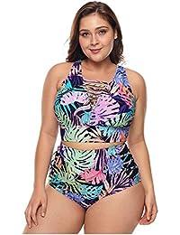 bb18fd1c128c Easy Go Shopping Bañadores de Talla Grande para Mujer Hollows Tankini con  Cordones Decoraciones Estampado de