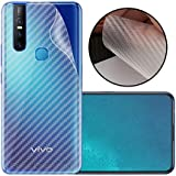 Case Creation Ultra Thin Slim Fit 3M Clear Transparent 3D Carbon Fiber Back Skin Rear Screen Guard Protector Sticker Protective Film Wrap Not Glass for Vivo V15 (with Sensor Cut) (Carbonn)