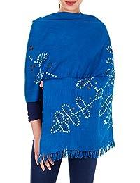 scarfs d'hiver bleu turquoise pour les femmes de laine tie dye cadeaux indiens faits à la main pour ses 24x70 pouces