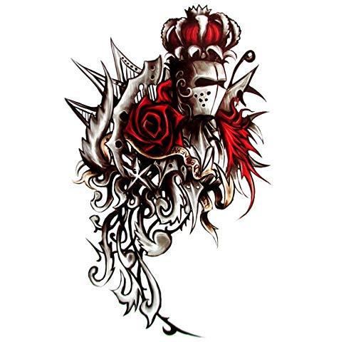 ruofengpuzi Ritter Rose Tattoo Flash Temporäre Tätowierung-Körper-Kunst-Aufkleber-15 * Wasserdicht 21Cm Rose Tattoo Ritter Tattoo