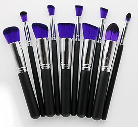 Chinkwin Kit de Pinceau maquillage Professionnel 10 PCS à Paupière Blush Fondation Pinceau Poudre Fond de Anti-cerne Kit Pinceaux de Maquillage Professionnels Kit (violet)