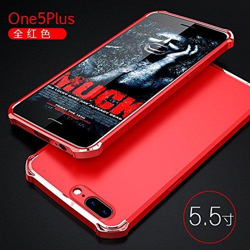 YHUISEN OnePlus 5 Case, Fashion 3 in 1 Heavy Duty High Impact Matte Plating Shockproof Anti-Drop PC Harte Schutzhülle für OnePlus 5 ( Color : Black Red ) Red
