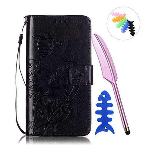 ANNN® HUAWEI Honor 5C Case Cover -- Prägung Schmetterling PU Leder Flip Wallet Schutzhülle mit Magnetverschluss - Bookstyle Hülle mit Standfunktion und Kartenfach als stabiler Schutz--A02