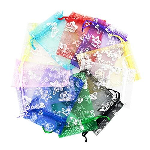 CozofLuv 100 Pezzi Sacchetti Organza Portaconfetti per Nozze Regalo Caramella Partito Gioielli 9*12cm (multicolore)