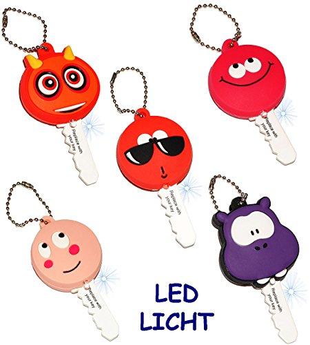 Preisvergleich Produktbild alles-meine.de GmbH 5 Stück _ Schlüsselanhänger mit LED Licht - lustige Figuren - Taschenlampe für Tasche & Auto - Schlüsselhülle Lampe / Projektor - Licht / Leuchte - Schlüs..