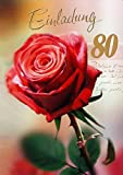 Einladungskarten 80. Geburtstag Frau Mann mit Innentext Motiv rote Rose 10 Klappkarten DIN A6 im Hochformat mit weißen Umschlägen im Set Geburtstagskarten Einladung 80 Geburtstag Mann Frau K98
