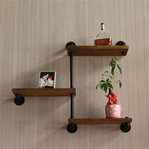 JH Wand-Lagerregal Schmiedeeisen Rohre Vintage Massivholz Schindel Wand-Bücherregal Kreative Dekor Regal (Schindel-wand-dekor)