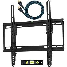 """Cheetah Mounts APTMSB Soporte de Pared para Televisores y Pantallas LED, LCD y Plasma TV de 32-65"""" (80cm a 165cm) Max VESA 400x400 Máximo 52kg, con un Twisted Veins (3m) Resistente Cable HDMI con Ethernet y un Nivel Magnético con 3 Burbujas de 15cm"""