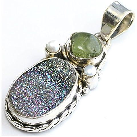 stargems (TM) naturale titanio Druzy, Prehnite con perle di fiume e design unico 925argento Sterling ciondolo 2