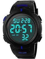 Mudder Reloj Deportivo Digital Multifuncional 5ATM, Azul