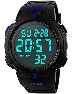 5ATM Wasserdichte Digital Sport Armbanduhr Digital Quarz, Blau