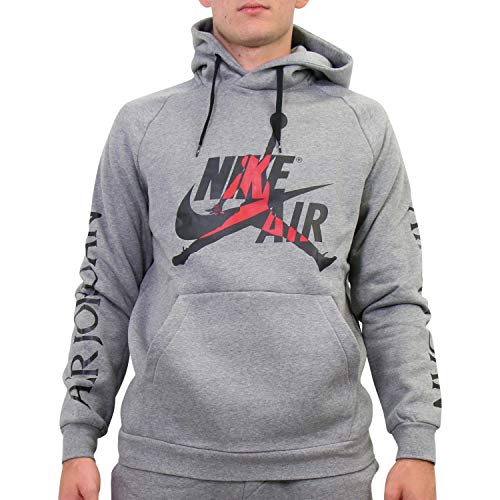 Nike M J Jumpman Classics FLC Po Hooded Long Sleeve Top Herren S Carbon Heather/schwarz