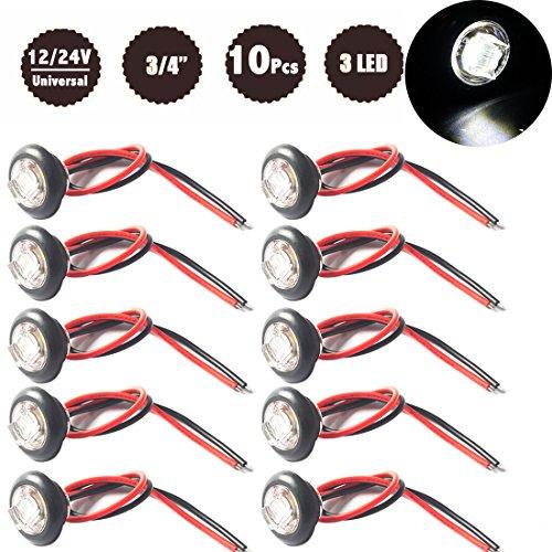 Preisvergleich Produktbild Nat - LED Trailer Seitenmarkierung Licht & Licht - 3/4 Zoll - 12 V 24 V - Für Anhänger, LKW, LKW-10 PCS - Weiß