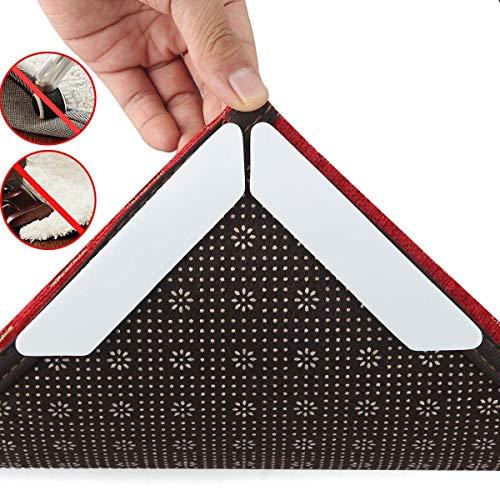 8 pcs rug grippers per pavimento in legno, tappetino antiscivolo, pinza per tappeti riutilizzabile evita efficacemente gli angoli del tappeto dal curling up, 13 * 2.5cm