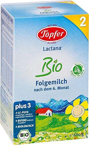 Töpfer Lactana Bio 2 Folgemilch - ab dem 6. Monat, 2er Pack (2 x 600g)