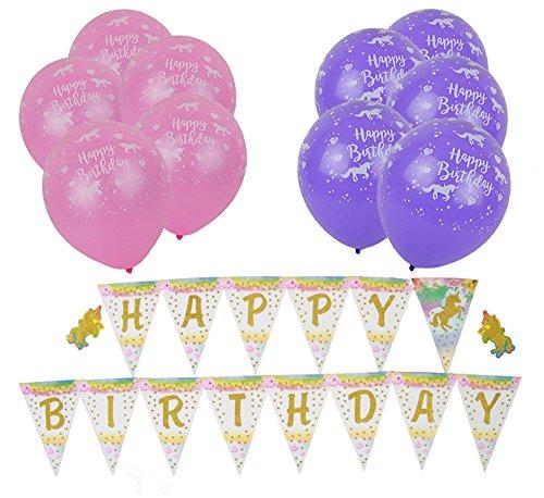 InnoBase Einhorn Fancy Latex Bunte Happy Birthday Luftballons Banner Helium Rosa Pink Lila Ballons Kinder Mädchen Kleinkind Einhorn Thematisch Birthday Geburtstag Party Zubehör Supplies Dekorationen