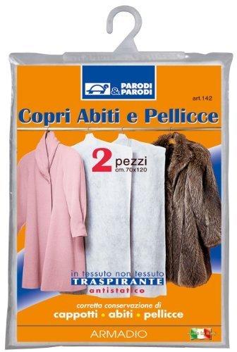 Parodi&Parodi Guardaroba 2 Copri Abiti e Pellicce Traspiranti, Polipropilene, Bianco, 15x21x1 cm, 2 Unità