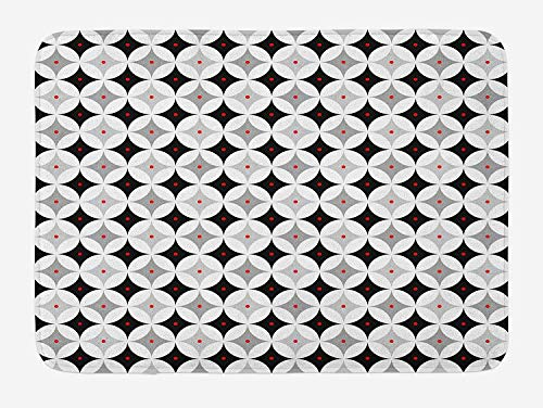 (ZKHTO Mid Century Bath Mat, Retro Styled Atomic Composition with Vintage Diamond Line Pattern, Plush Bathroom Decor Mat with Non Slip Backing, 23.6 W X 15.7 W Inches, Pale Grey Black Red)