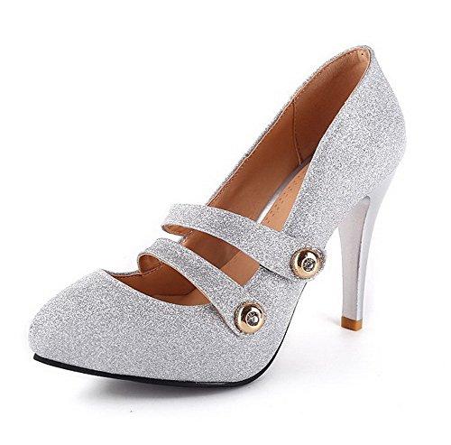 AgooLar Damen Lackleder Spitz Zehe Stiletto Schnalle Rein Pumps Schuhe Silber