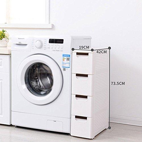 MOMO Badezimmer-Zahnstangen-Weg-Art-Lagerschrank, schmaler Lagerschrank mit Rad, mehrschichtiges Plastikbadezimmer-Küchen-Wohnzimmer-Lagerregal, Breite 19Cm,Vier...
