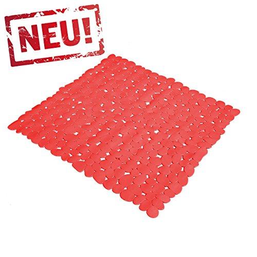 Rote Anti Rutsch Matte für die Dusche - Duscheinlage mit Saugnäpfen - Schadstofffreie Duschmatte in schöner Kieseldekor Steinoptik - Größe: 53 x 53cm