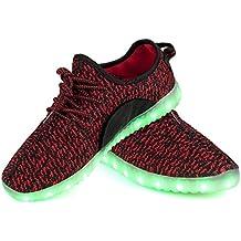 Shinmax LED Zapatos, Primavera-Verano-Otoño Transpirable Zapatillas LED 7 Colores Recargables Luz Zapatos de Deporte de Zapatillas con Luces Para Niños Adultos con CE Certificado