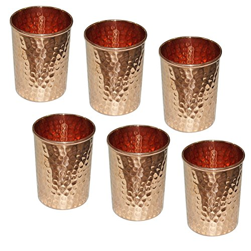 Zap Impex ® Reines kupfer gehämmert wasser trinken gläser set 6 indischen gefäße zubehör, kapazität 350 ml