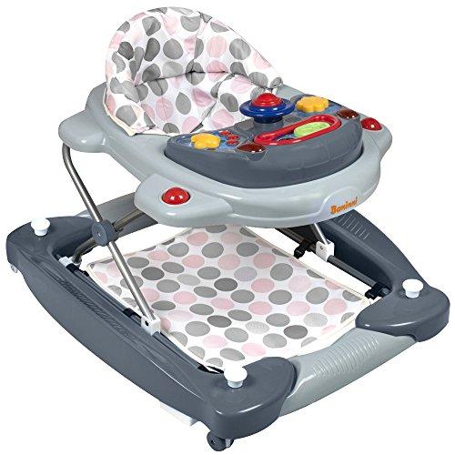 Baninni Baby Kinder Lauflernhilfe Gehfrei Walker 3in1 Funktion mit Babyschaukel und Musik Spielecenter rosa/grau