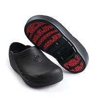 ESCOFFIER Waterproof Slip Resistant Kitchen Chef Nurse Clog - Non Slip Work Mule Shoes for Men Women (PP-2020, US6, Black)
