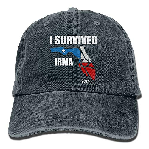 CrownLiny I Survived Hurricane Irma 2017 Washed Retro Adjustable Cowboy Hat Baseball Cap for Man and Woman