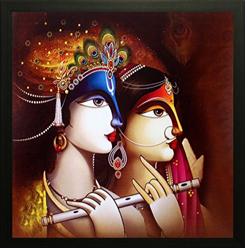 SAF Radha Krishna Painting exclusive Framed Wall Art Paintings. Frame size (Wood, 30 cm x 3 cm x 30 cm, Special Effect Textured)