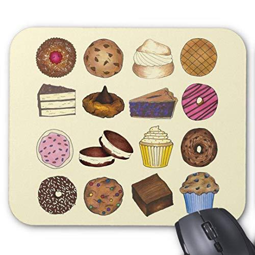 Gaming Mauspad rutschfest Gummi Mauspad Rund Mauspad für Computer Laptop Mauspad Backen Leckereien Cupcake Cookie Pie Brownie Donut Mauspad -