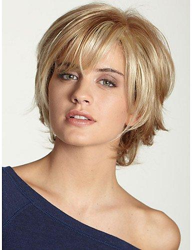 Perruque & xzl Perruques Fashion sans colle profonde droite courte perruque de cheveux de femmes à la mode pour les afro-américaine
