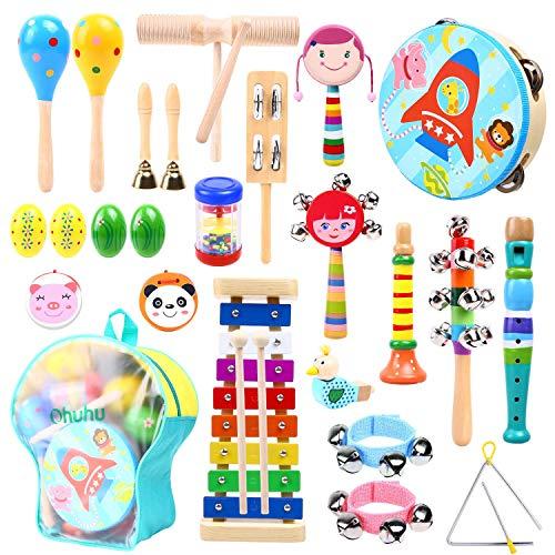 Ohuhu Musikinstrumente für Kinder, 26Pcs Musik Spielzeug Kindermusikinstrumentenset für Kinder mit gestimmtem Xylophon, Aufbewahrungsrucksack inklusive, Weihnachtsgeburtstagsgeschenk präsentiert