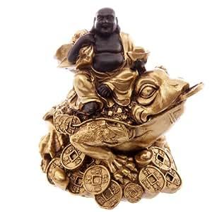 Gold &braun Lachender dicker Buddha reitet auf Reichtum Toad. das perfekte Geschenk für den Geburtstag, zu Weihnachten oder zum Vatertag Geschenk etc...