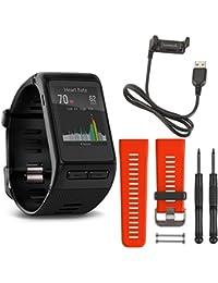 Garmin vivoactive HR GPS Smartwatch - X-Large Fit Black Lava Red Band Deluxe Bundle includes vivoactive HR Smartwatch Lava Red Band and USB Charging Cable