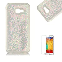 Funyye Liquid Quicksand Case for Samsung Galaxy A520/A5 2017,Sparkly Flowing Glitter Light Pink Love Hearts TPU Case for Samsung Galaxy A520/A5 2017,Slim Soft Rubber Flexible Clear Protective Silicone Case for Samsung Galaxy A520/A5 2017 + 1 x Free Screen