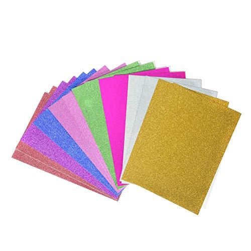 OAONNEA 16 Blatt Glitzerpapier Zum Basteln 30x20 cm DIY Handwerk Scrapbooking Mehrfarbig A4 (16Sheets) (Stock, Card Rosa Papier)