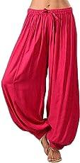 Frau übergröße Einfarbig beiläufig lose Haremshosen Yoga-Hose Frauen Hosen-Damen Leinenhose, leger Geschnitten-Yogahose Strecken Sporthose Freizeithose Casual Streetwear outdoorhos