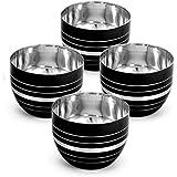 King International Stainless Steel Black Designer Bowl,Katoris Set Of 4 Pieces