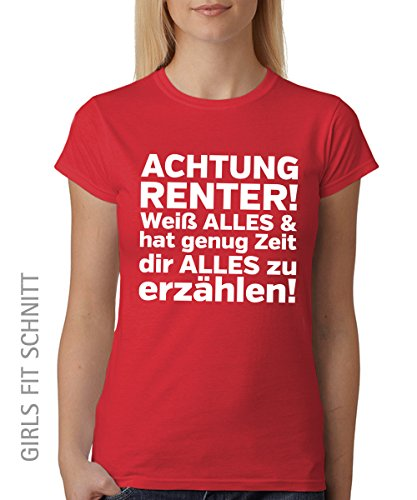 -- Achtung Rentner! -- Girls T-Shirt auch im Unisex Schnitt Rot