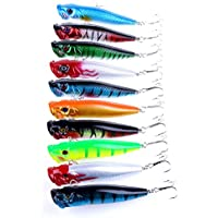 Hrph 10 Piezas de pesca de Popper señuelos Crankbaits cebos de aparejo de bajo Minnow Lure Kits