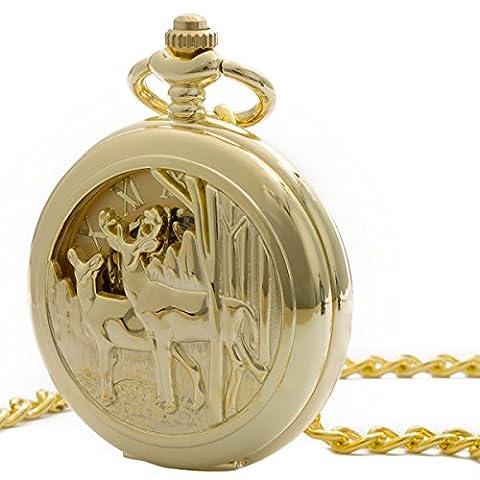 ManChDa Unique Reindeer Pocket Watch Golden Hollow Case Skeleton Mechanical for Men Women with Chain + Gift Box